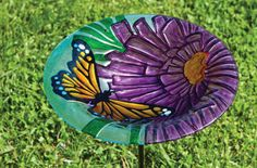 Monarch Floral, Glass Stake Bird Bath