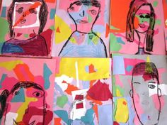 1st grade, Matisse, organic/geometric shapes, and self-portraits.