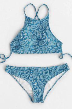 Cupshe Sail the Ocean Paisley Halter Bikini Set