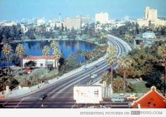 Los Angeles, 1956 - An amazing early morning sight near MacArthur Park, Los Angeles, in 1956.