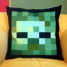 minecraft creeper pillow quilted