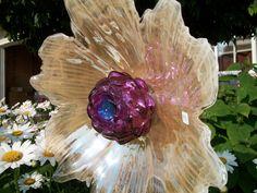 Upcycled glass garden art by Kimber's Garden Gems on Facebook