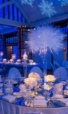 Chicago knows winter all too well, and this snowy Bat Mitzvah celebration from Designer Event Chicago captures the most magical parts of the season. Dreamy blue lighting evoked an icy evening, while p Sweet 16 Party Decorations, Sweet 16 Themes, Quince Decorations, Quinceanera Planning, Quinceanera Decorations, Quinceanera Party, Themes For Quinceanera, Quinceanera Dresses, Winter Wonderland Wedding Theme