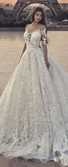 A-Line Jewel Chapel Train Half Sleeves White Lace Wedding Dress with Appliques Sequins M3091