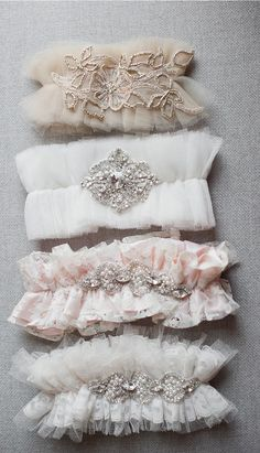 DIY Bridal Garter // Tulle Couture Garters Using Soft Ivory Lace, Crystals and Embroideries. By Emily Riggs Bridal
