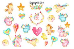 Watercolor Unicorn Planner 4 Sticker Set by SugaryGaLShop on Etsy