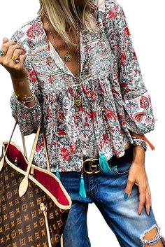 Wholesale Blouses & Shirts,Cheap Red Floral Vintage V Neck Blouse Online High Street Fashion, Boho Tops, Fashion Prints, Boho Fashion, Bohemian Fabric, Vintage Bohemian, Mode Hippie, Look Boho, Blouse Online