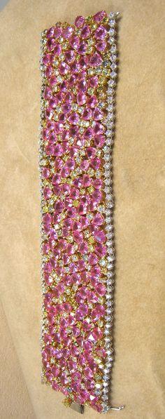110.45ct Pink Sapphire 24.51ct Diamond 18K Bracelet WOMEN'S FINE BRACELETS - http://amzn.to/2ikysTF