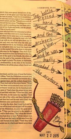 """Illustrating very """"EASY"""" art and letters ONLY in the margin of my Bible for 365 days. It is FREE! Using 3 main materials (Bible, pen and color pencils). I get so many compliments when I use my Bible and others see my art…what a wonderful way to share t Bible Study Journal, Scripture Study, Bible Art, Art Journaling, Bible Drawing, Bible Doodling, Samuel Bible, 2 Samuel, Faith Bible"""