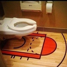 Here is a great bathroom idea for those hardcore basketball fans.