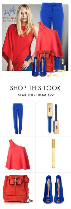 """""""Girls' Night Out: Summer Edition"""" by breathing-style ❤ liked on Polyvore featuring Boutique Moschino, Yves Saint Laurent, Saloni, Marc Jacobs, Carven, Gianvito Rossi and Alex Monroe"""