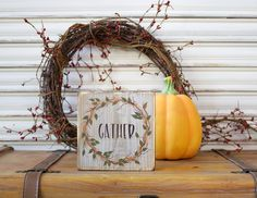 Fall Decor, Fall Wood Sign, Gather Wood Block, Thanksgiving Wooden Sign, Autumn Decoration, Rustic Wood Sign, Primitive Wreath, Shelf Sitter by TinSheepShop on Etsy