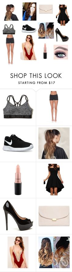 """""""Zoey 3pt1"""" by molly-johnson-i on Polyvore featuring Hollister Co., Solow, NIKE, Balmain, MAC Cosmetics, Mansur Gavriel and Blue Life"""
