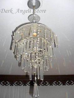 lustre cristal vintage cascata decoração anos 50 60 retro