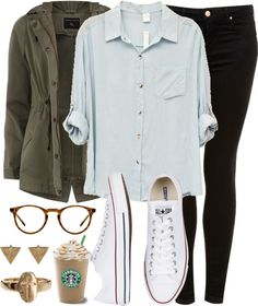 Inspired outfit for getting Starbucks Untitled #214 by celinarrr featuring club manhattan Khaki Short Parka Jacket / Romwe Boy Style Blue Shirt / MOTO Black Skinny Leigh Jeans £38.00 / Oliver People's O'Malley Eyeglasses $350.00 / Earrings Pyramid Studs €17,95 / Ditsy Cross Ring £6.00
