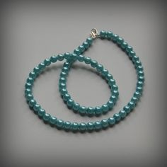Blue Pearl Glass Bead Necklace