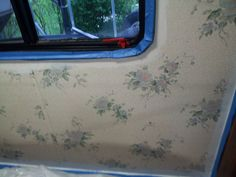Motorhome - Really UGLY blue flowered wallpaper in bedroom and bathroom.  Took 5 coats of paint to cover - 3 coats of Kilz and 2 coats of paint