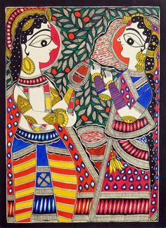 Embroidery On Paper Radha Krishna - Folk Art Paintings (Madhubani Folk Art on Paper - Unframed) - Radha Krishna (Madhubani Folk Art on Paper - Unframed) Krishna Painting, Madhubani Painting, Krishna Art, Radhe Krishna, Kalamkari Painting, Turbans, Art Premier, Madhubani Art, Indian Folk Art