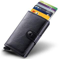 9432b028ffef9 Kreditkartenetui Echtes Leder Kartenetui Geldklammer Portmonee Geldbeutel  mit RFID Schutz für Alltag Schwarz  Koffer Rucksäcke