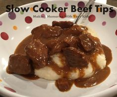 Slow Cooker (Crock Pot) Beef Tips in Gravy over Mashed Potatoes. (beef tips slow cooker) Crock Pot Beef Tips, Crock Pot Food, Crockpot Dishes, Crock Pot Slow Cooker, Beef Dishes, Slow Cooker Recipes, Food Dishes, Crockpot Recipes, Cooking Recipes
