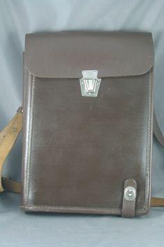 Vintage 50s Leather Satchel Cross Body School Bag Brown Multi Pocket Adjustable