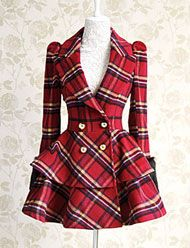 Royal Style Double-Breasted Detail Layered Full Skirt Plaid Woolen For Women