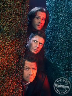 on EW Cover - - See all the photos from EW's cover shoot with 'Supernatural' stars Jared Padalecki, Jensen Ackles, Misha Collins, Samantha Smith, and Jeffrey Dean Morgan. Supernatural Destiel, Supernatural Series, Jensen Ackles Supernatural, Supernatural Wallpaper, Jensen And Misha, Castiel, Supernatural Bunker, Jensen Ackles Family, Supernatural Episodes