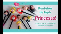 DIY -  Ponteiras Princesas! 10 MODELOS!1 Sah Biscuit, Polymer Clay Miniatures, Pasta Flexible, Clay Tutorials, Cold Porcelain, Flexibility, Biscuits, Youtube, Crafts