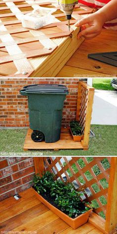 #7. Create hidden garbage can storage area behind lattice in your side yard.
