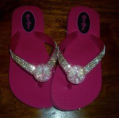 39be2bf6327d6 Children s hot pink flip flops with Swarovski clear crystals - Children s  hot pink flip flops with