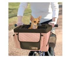 Bicycle Pet Carrier Snoozer Bike Basket Car Travel Portable Small Dog Folds Pink #Snoozer