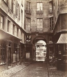 Charles Marville (French, Passage Saint-Guillaume toward the rue Richilieu (Paris, First Arrondissement), Vintage Paris, Old Pictures, Old Photos, Vintage Photographs, Vintage Photos, Musee Carnavalet, National Gallery Of Art, French Photographers, Foto Art