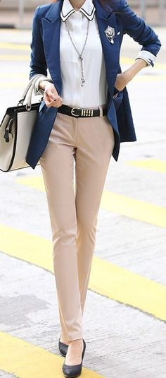 Spring Fashion 2014. Let your preppy side come out! Fitted varsity blazer  nude straight ankle trousers. Too cute! ::M::