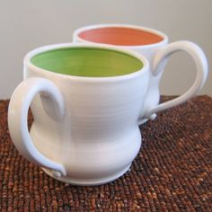 Large Pottery Mugs in Watermelon and Lime  Set of by KarinLorenc, $44.00