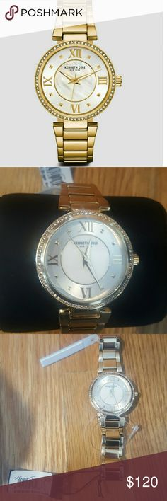 Kenneth Cole Watch *make an offer* New with tag  Beautiful gold watch with Rhinestones   mother of pearl dial Kenneth Cole Accessories Watches