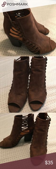 Brown opened toe booties Perfect condition, bought them & never worn them because they're to big for me. So they've been in my closet! JustFab Shoes Ankle Boots & Booties