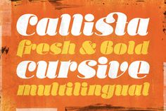 "Callista ~~ Callista (from the Greek for ""most beautiful"") is a fat cursive typeface, inspired by the works of Francois Boltana in the early 1970s and those of Milka Peykova in late 1970s. With its Full Latin and Cyrillic support, Callista is a perfect choice for sho"
