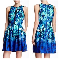 Vince Camuto Floral Ombré Dress So pretty and perfect for summertime! Brand new with tags! Pleated flattering detail in a blue and green ombré color scheme. No trades!! 052916100dr Vince Camuto Dresses