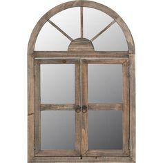Sfeervolle bruine spiegel Chatou van hout. Ook geschikt voor buiten. Afmeting: 60 x 40 cm.