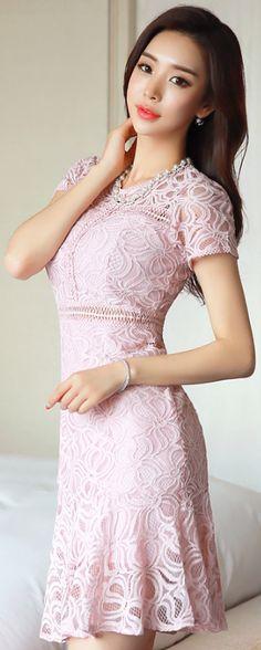 StyleOnme_Romantic Lace Short Sleeve Flounced Dress #pink #romantic #lace #dress #koreanfashion #kstyle #kfashion #springtrend #seoul