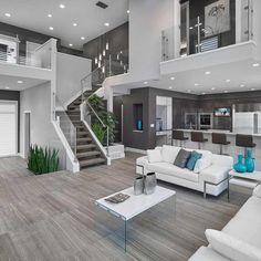 Contemporary monochrome home decor with aqua accessories