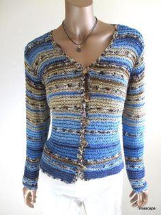 COLDWATER CREEK Blue Multi Knit Tape Yarn Button Sweater sz M #VB509 EUC #ColdwaterCreek #Cardigan