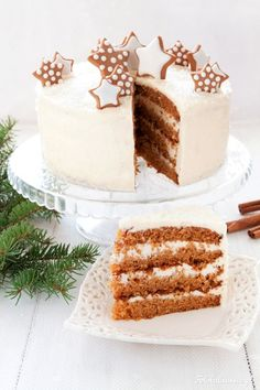 Gingerbread Carrot Cake with Halva and White Chocolate Cream Cheese Frosting. Polish Desserts, Polish Recipes, Cookie Desserts, Sweet Recipes, Cake Recipes, Dessert Recipes, Holiday Cakes, Christmas Desserts, Chocolate Cream Cheese