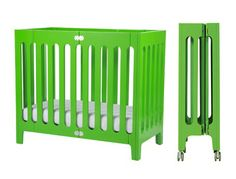 alma mini crib is about space saving, room-to-room mobility and storage. designed for smaller spaces, apartment living, co-sleeping. the alma mini crib folding feature is perfect for grandparents Small Baby Cribs, Cribs For Small Spaces, Kid Spaces, Modern Baby Furniture, Baby Crib Sheets, Baby Canopy, Bloom Baby, Baby Room Design, Baby Cribs