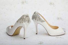 We just love thes delicate Wedding Shoes Crystal Heels Bridal Shoe Enclosed Toe by Parisxox