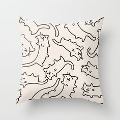 Floating Cats Throw Pillow by Kitten Rain - $20.00