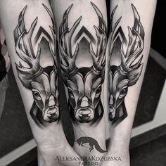 black and grey tattoo deer