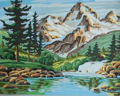 Vintage Mountain Lake Pine Forest Paint By by junkindatrunkgirls