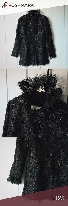 Fabian Molina Vintage Black Lace Blazer Coat SZ 6 GORGEOUS and insanely high quality vintage black lace jacket by Fabian Molina. There's a metallic sheen to the lace as well. I've got a serious eye for good fabric and THIS IS IT not even kidding. Label shows that it's a Size 6 but it runs small since it's vintage. Probably fits more like a 4 or even a large 2. Excellent condition with no odors, stains or rips. Fabian Molina Jackets & Coats Blazers