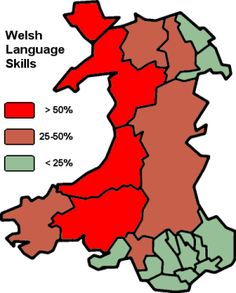 Welsh Language Usage, in Wales. This Language is being resurrected essentially; something old coming to life in a world filled with robots and bad TV